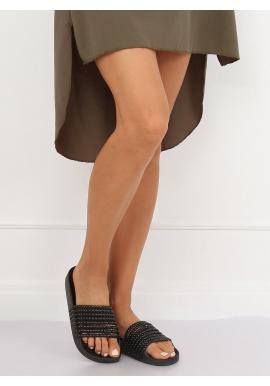 Štýlové dámske šľapky čiernej farby s korálkami