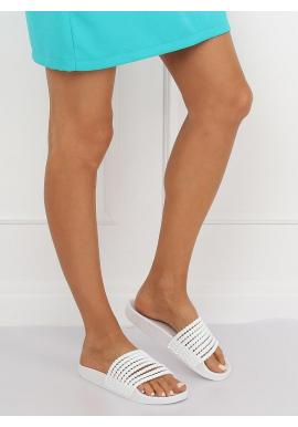 Štýlové dámske šľapky bielej farby s korálkami