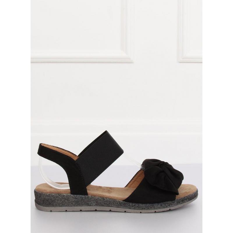 f9a5b9b8be481 Semišové dámske sandále čiernej farby s mašľou - skvelamoda.sk