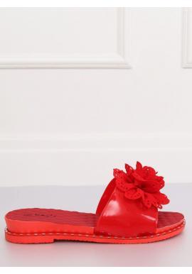 Gumené dámske šľapky červenej farby s kvetom