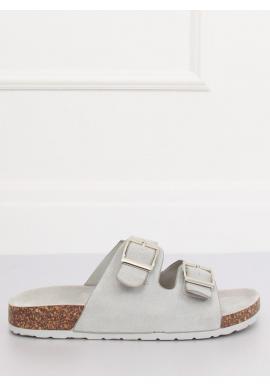 Sivé semišové šľapky na korkovej podrážke pre dámy