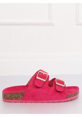 Semišové dámske šľapky ružovej farby na korkovej podrážke