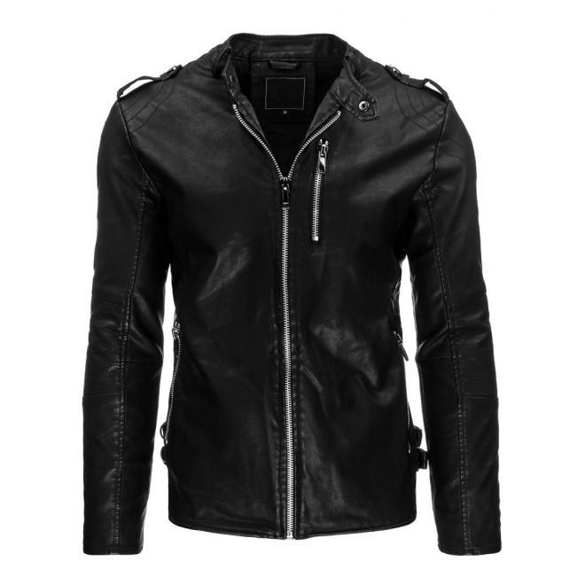 108d511d2886 Kožená bunda pre pánov so zapínaním na zips čiernej farby ...