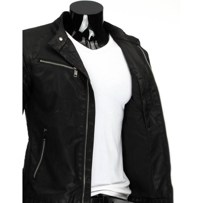 Kožená bunda pre pánov so zapínaním na zips čiernej farby
