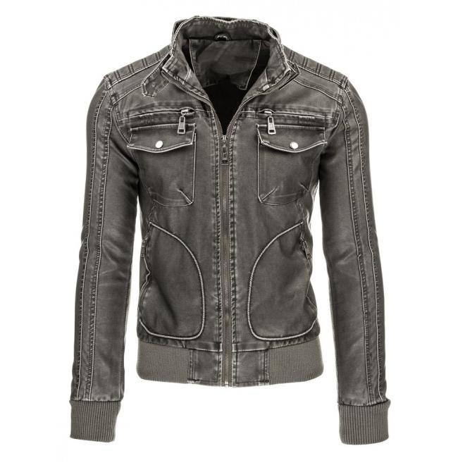 Prešívaná kožená bunda v čiernej farbe