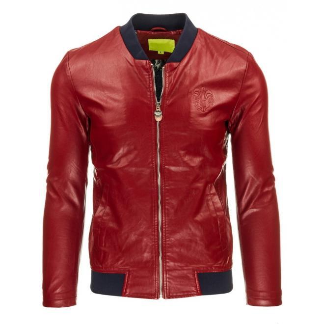 Pánska kožená bunda v čiernej farbe na zips