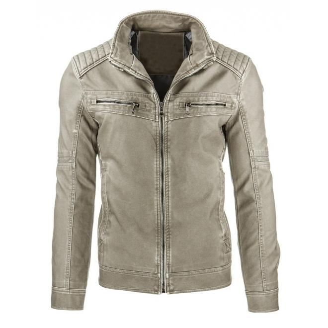 Pánska kožená bunda sivej farby s prešívanými aplikáciami