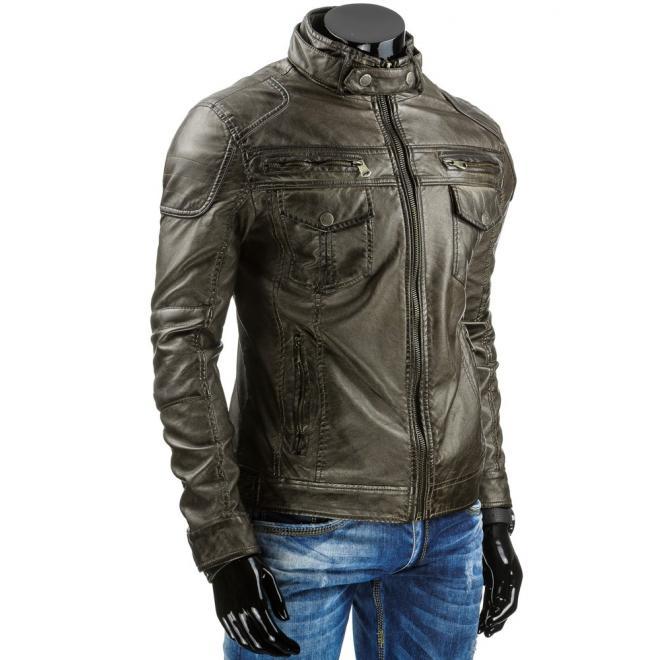 Sivá kožená bunda pre pánov so zapínaním na zips