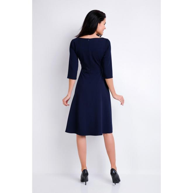 Šaty s asymetrickým výstrihom tmavomodrej farby pre dámy