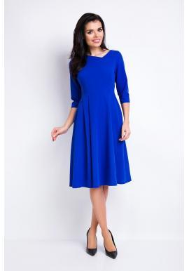 Modré dámske šaty s asymetrickým výstrihom