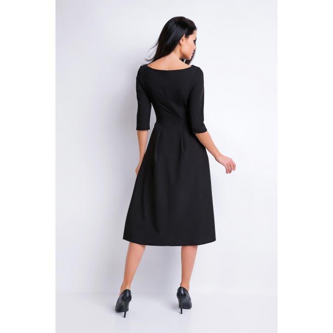Čierne šaty s rozšírenou sukňou pre dámy