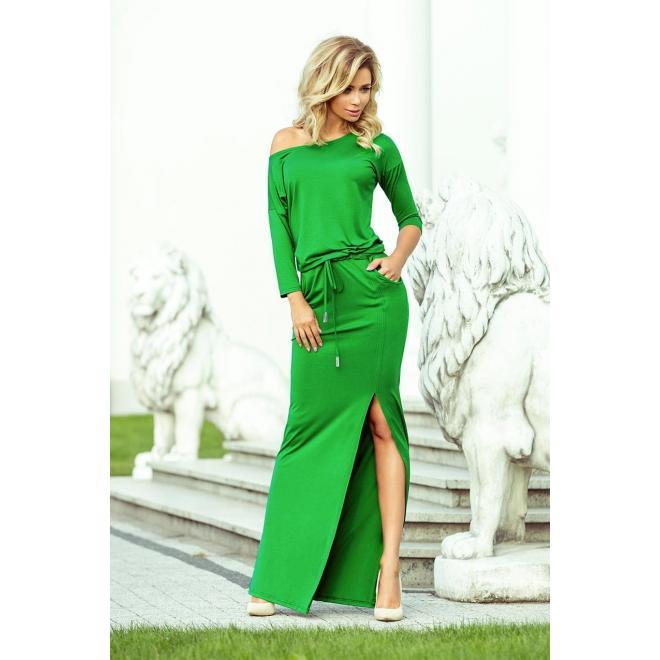 Dlhé dámske šaty zelenej farby s viazaním v páse