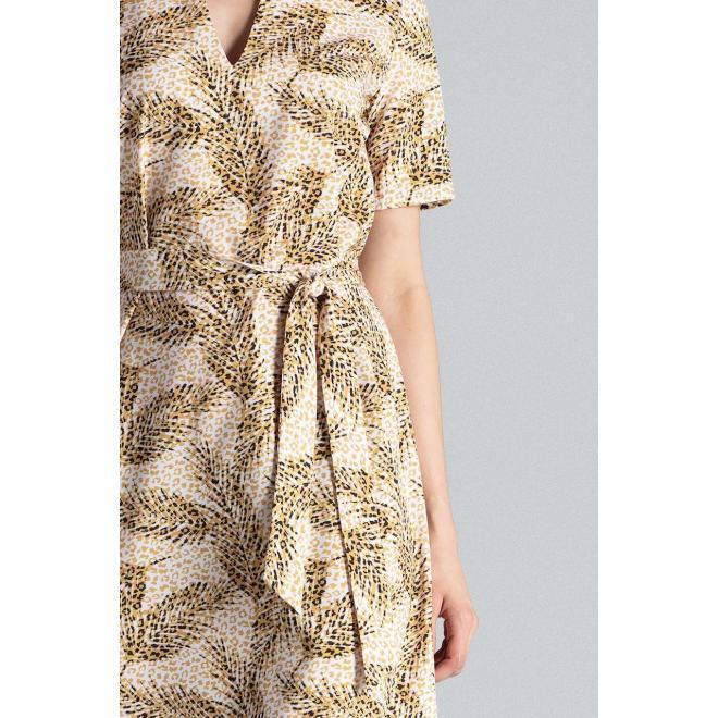 Béžové elegantné šaty so vzorom pre dámy