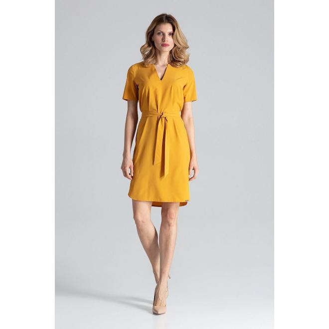 Dámske elegantné šaty s viazaním v páse v horčicovej farbe