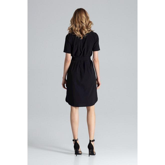 Čierne elegantné šaty s viazaním v páse pre dámy