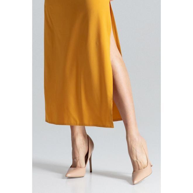 Dlhé dámske šaty horčicovej farby s krátkym rukávom
