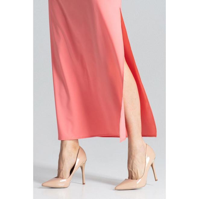 Korálové dlhé šaty s krátkym rukávom pre dámy