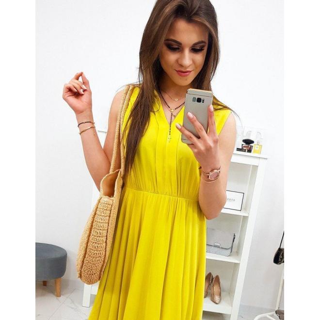 Dlhé dámske šaty žltej farby bez rukávov