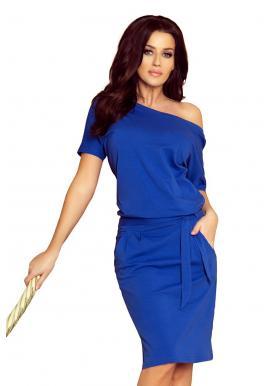 Dámske bavlnené šaty s krátkym rukávom v modrej farbe