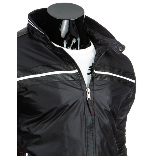 Tmavomodrá prechodná bunda so záplatami na lakťoch