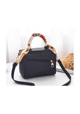Dámska módna kabelka so šatkou v čiernej farbe