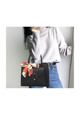Čierna štýlová kabelka so šatkou pre dámy