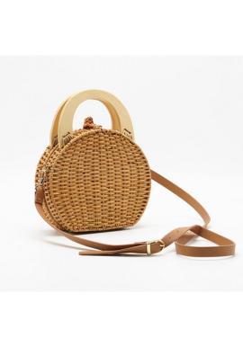 Dámska prútená kabelka v hnedej farbe