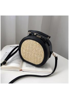 Dámska prútená kabelka s ekokožou v čiernej farbe