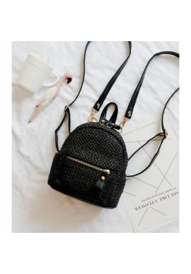 Čierny prútený mini ruksak