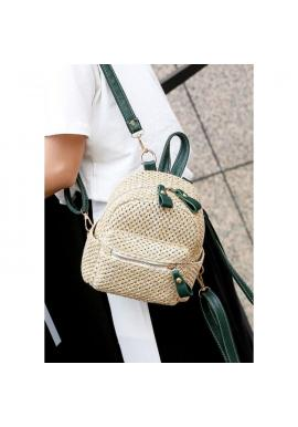 Prútený mini ruksak so zelenými detailami