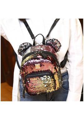 Farebný flitrový ruksak s ušami pre dámy