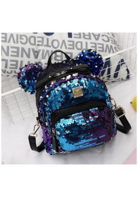 Flitrový dámsky ruksak modrej farby s ušami