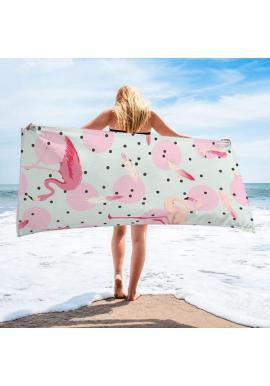 Obdĺžnikový plážový ručník mätovej farby s motívom plameniakov