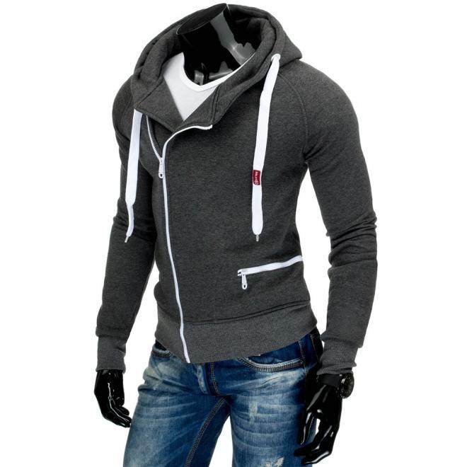 Sivá mikina s vreckom a kontrastný bielym zipsom pre pánov