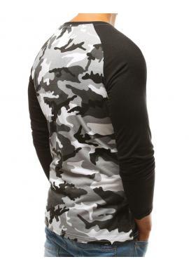 Čierne maskáčové tričko s dlhým rukávom pre pánov