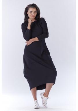 Dlhé dámske šaty čiernej farby v športovom štýle