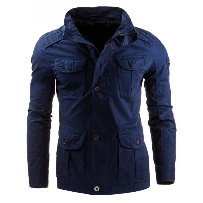 Pánska prechodná bunda v modrej farbe