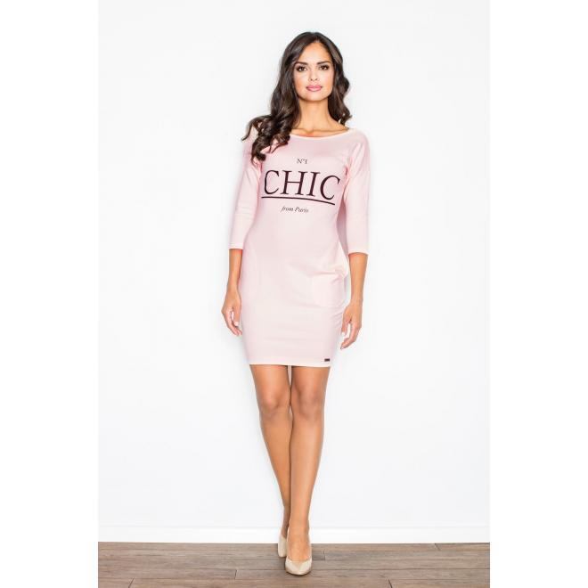 Dámske pohodlné šaty s potlačou v ružovej farbe