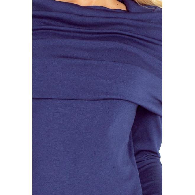 Krásne tmavomodré šaty s veľkým golierom