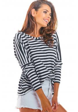 Čierno-biele pásikavé tričko s dlhým rukávom pre dámy
