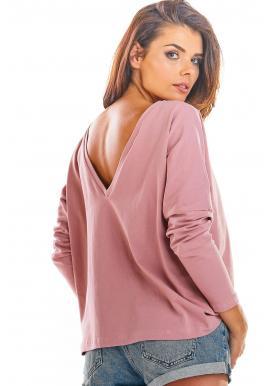 Voľné dámske tričko ružovej farby s dlhým rukávom