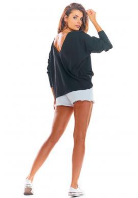 Dámske voľné tričko s dlhým rukávom v čiernej farbe