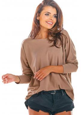 Béžové voľné tričko s dlhým rukávom pre dámy
