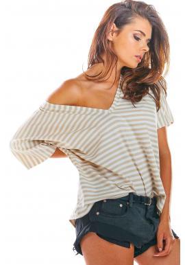 Pásikavé dámske tričko béžovo-bielej farby s hlbokým výstrihom
