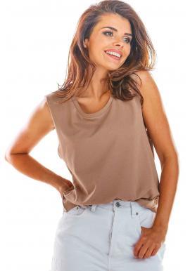 Béžové voľné tričko bez rukávov pre dámy