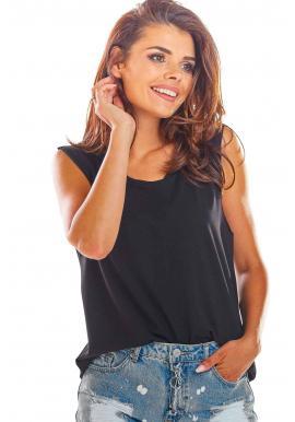 Dámske voľné tričko bez rukávov v čiernej farbe