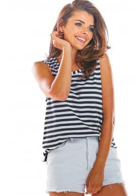 Čierno-biele pásikavé tričko bez rukávov pre dámy