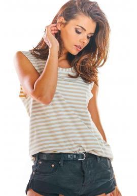 Dámske pásikavé tričko bez rukávov v béžovo-bielej farbe