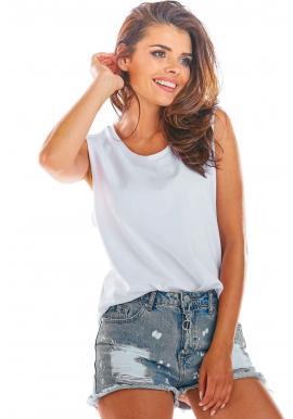Voľné dámske tričko bielej farby bez rukávov