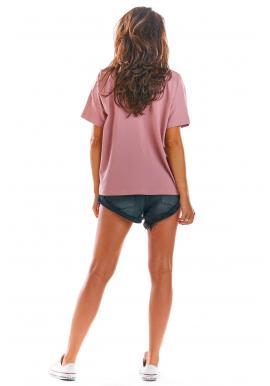 Ružové voľné tričko s hlbokým výstrihom pre dámy